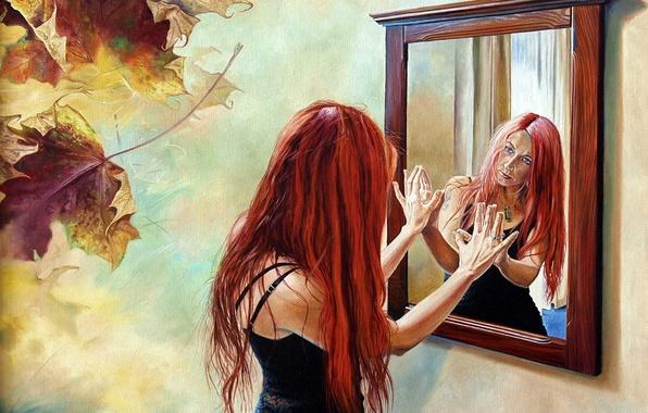 Картинка листья, девушка, отражение, зеркало, Wlodzimierz Kuklinski