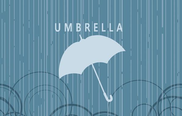 Картинка круги, дождь, надпись, Зонт
