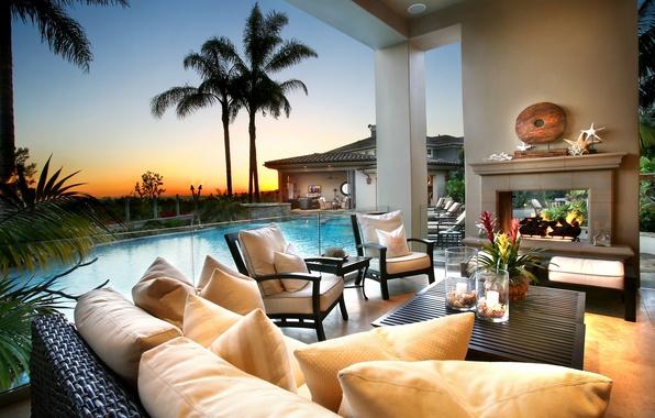 Картинка fire, summer, pool, sky, nature, style, sunset, night, flowers, clouds, palm trees