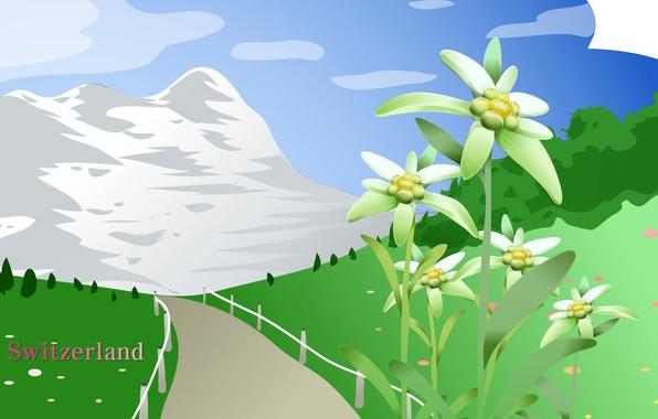 Картинка дорога, небо, пейзаж, цветы, горы, путешествия, Швейцария, луг, туризм, Switzerland, страна, государство