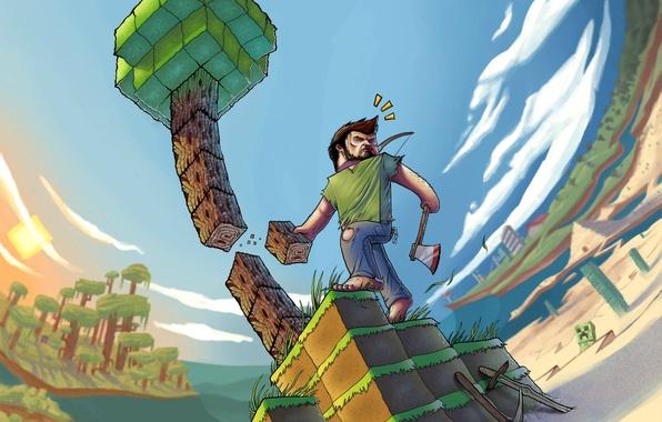 Картинка игра, пиксели, game, minecraft, майнкрафт