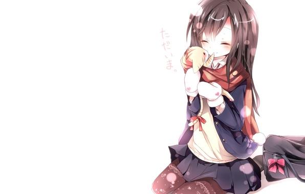 Картинка зима, кошка, кот, снег, любовь, радость, счастье, надпись, аниме, девочка, иероглифы, школьница, сумка, неко, шарфик, …