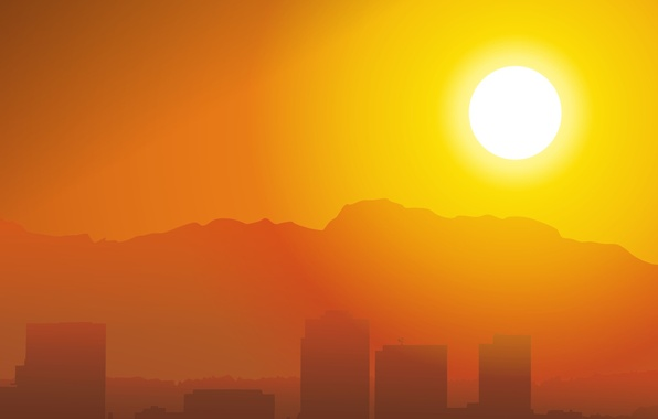 Картинка солнце, здания, вектор