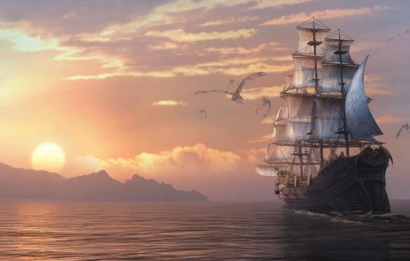 Картинка море, закат, корабль, парусник, драконы, арт, Dragon Eternity, драконы вечности