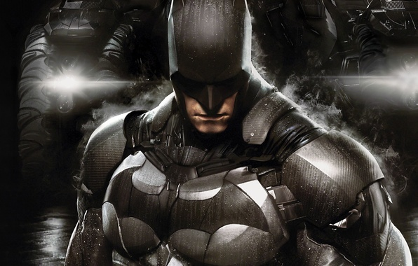 Картинка капли, фары, дым, броня, боец, экипировка, защитник, Брюс Уэйн, Бэтмобиль, Bruce Wayne, Warner Bros. Interactive …