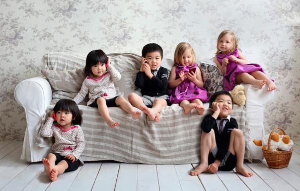 Картинка дети, девочки, разговор, мальчики, телефоны