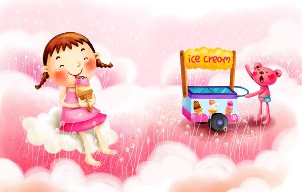 Картинка облака, радость, фантазия, рисунок, мороженое, девочка, косички, тележка, зверёк
