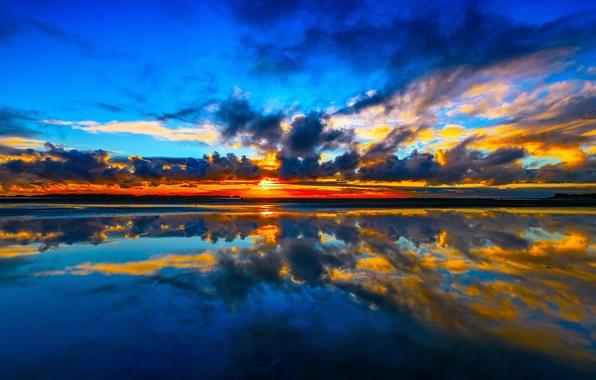 Картинка море, облака, закат, отражение, Новая Зеландия, New Zealand, Пролив Кука, Манакау, Kuku Beach, Cook Strait, …