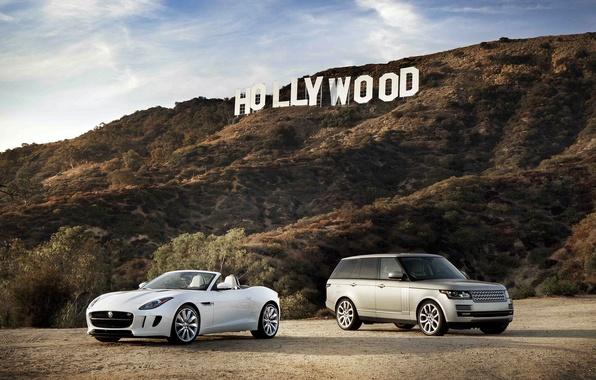 Картинка Jaguar, white, Land Rover, Range Rover, and, F-Type
