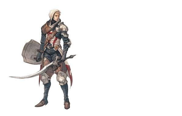 Картинка меч, капюшон, белый фон, шит, мужчина, sword, рыцарь, art