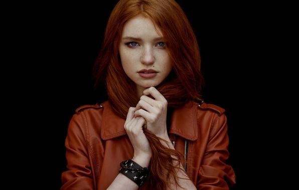 Картинка портрет, веснушки, рыжеволосая, Алина, natural light