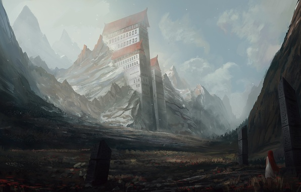 Картинка девушка, пейзаж, горы, скалы, здания, дома, арт, колонны, рыжая, руны, гигантские, blinck
