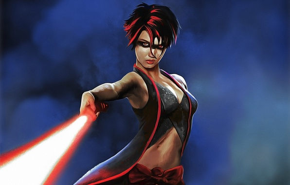 Картинка фантастика, Star Wars, lightsaber, sith, sith lady