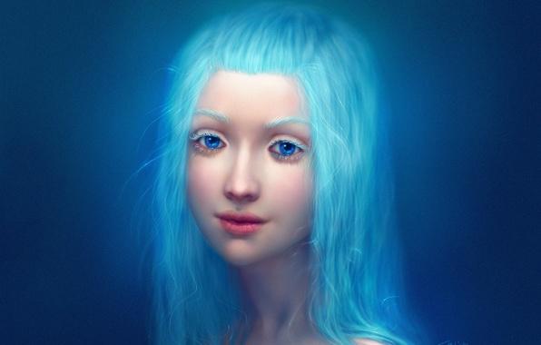 Картинка девушка, крупный план, лицо, губы, голубые глаза, длинные волосы, синие волосы, голубой фон, realistic, простой …