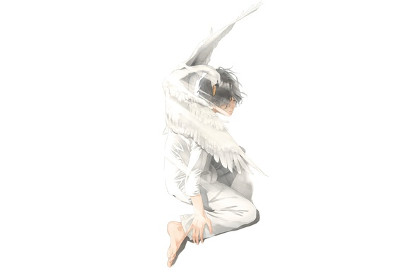 Картинка птица, арт, лебедь, парень, сидит