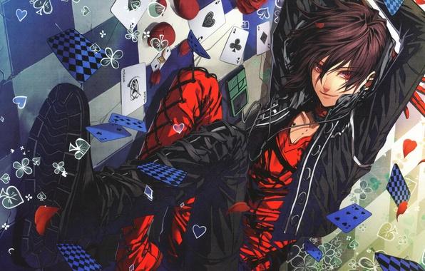 Картинка карты, красное, роза, лепестки, наушники, черное, парень, Amnesia, Shin