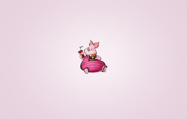 Картинка животное, минимализм, свинья, Винни-Пух, напиток, гамбургер, лимонад, пятачок, пухлый, Winnie-the-Pooh