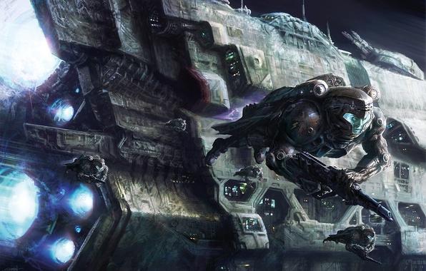 Картинка космос, оружие, люди, корабль, скафандр, арт, астронавты, David Demaret