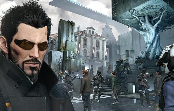 Картинка киберпанк, Square Enix, cyberpunk, адам дженсен, adam jensen, Eidos Montreal, Deus Ex: Mankind Divided