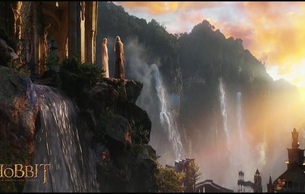Картинка лес, закат, обрыв, эльф, водопад, sunset, elf, Ривенделл, Rivendell, волшебник, эльфийский замок, waterfalls, elven castle, …