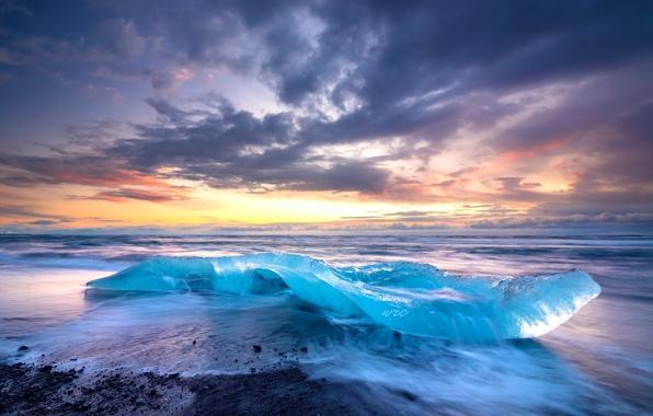 Картинка лед, море, небо, облака, берег, прибой, Исландия