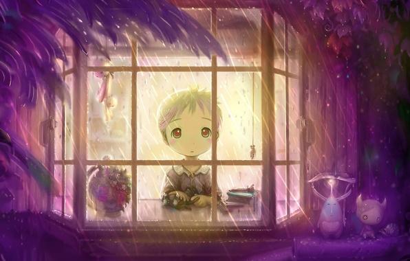 Картинка Мальчик, Дождь, Окно