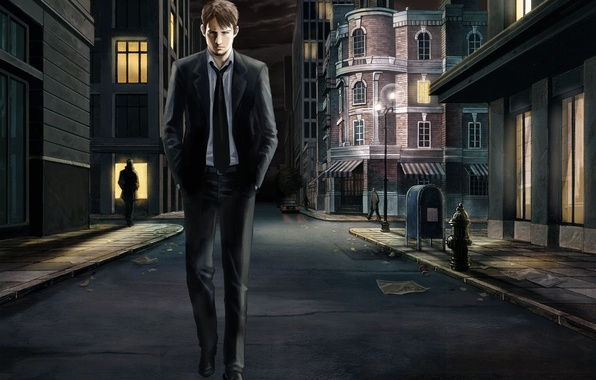 Картинка ночь, ретро, одиночество, улица, парень, прогулка, Silent Night, Last Window, dusk