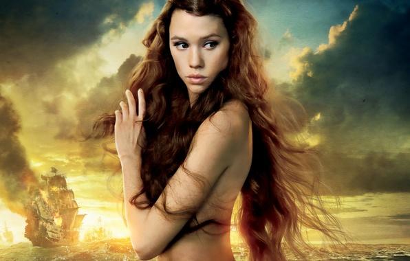 Картинка море, небо, закат, волосы, корабль, русалка, красотка, Пираты Карибского моря, Pirates of the Caribbean, Astrid …
