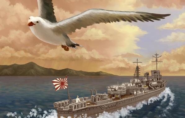 Картинка море, птица, корабль, чайка, арт