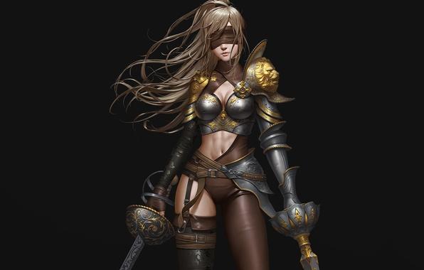 Картинка девушка, поза, оружие, фон, волосы, арт, повязка, броня, мечи, ремешки