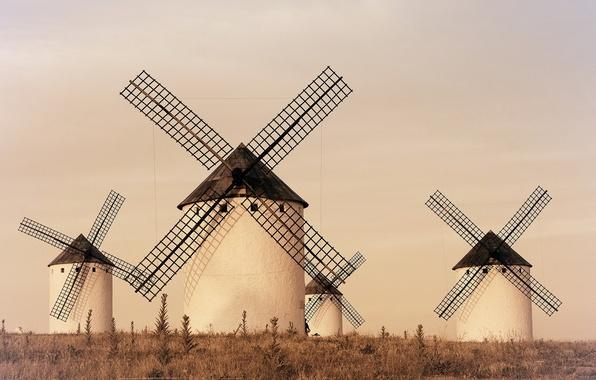Картинка landscape, Spain, windmill