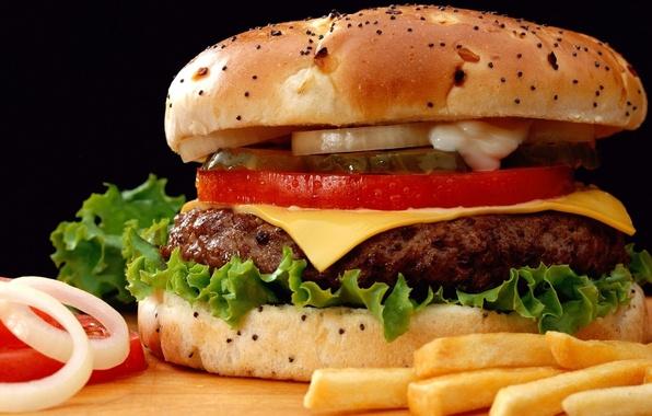Фото обои биг мак, бутерброд, ломтики, булка, огурец, сыр, лук, еда, помидор, гамбургер, котлета, картофель фри, BIG ...