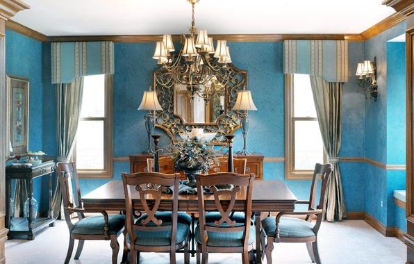 Картинка цветы, синий, дизайн, стиль, стол, голубой, мебель, окна, лампа, стулья, интерьер, букет, зеркало, красиво, кухня, …