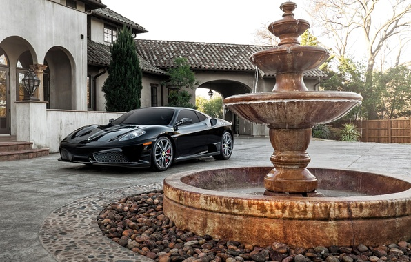 Картинка дом, черная, фонтан, F430, Ferrari, суперкар, феррари, Black