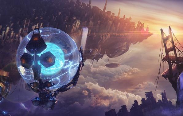 Картинка мост, фантастика, шар, арт, разрушение, разлом, sci-fi