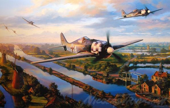 Картинка aircraft, war, art, airplane, aviation, ww2, dogfight, fw 190, trudgian