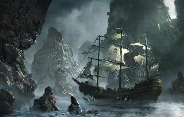 Картинка море, волны, небо, облака, скалы, корабль, парусник, бухта, арт, storm, sea, art, rocks, Michal Matczak, ...