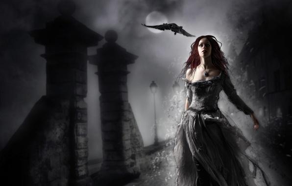 Картинка девушка, ночь, фантастика, птица, платье, арт, фонари, ворон, красные волосы