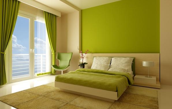 Картинка дизайн, стиль, комната, кровать, интерьер, кресло, окно, зеленое, квартира