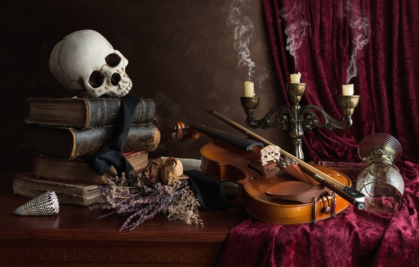 Картинка скрипка, бокал, книги, череп, свечи, натюрморт, сухоцвет