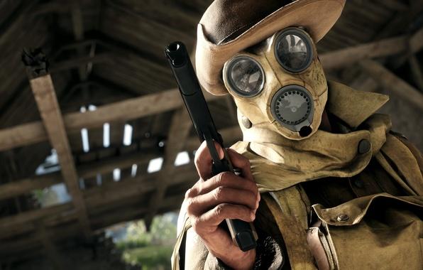 Картинка взгляд, абстракция, пистолет, цель, шляпа, маска, арт, противогаз, снаряжение, разведчик, 1918г, 1914г, WWI, первая мировая …