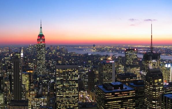Картинка Закат, Небо, Облака, Вечер, Нью-Йорк, Огни, Город, Манхеттен, Небоскребы, Здания, USA, Мегаполис, Manhattan, New York ...