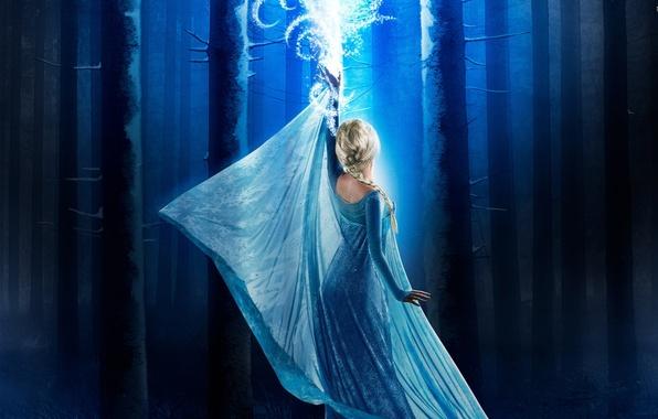 Картинка Frozen, girl, ice, forest, magic, long hair, dress, woman, blue, snow, tree, woods, series, Australian, …