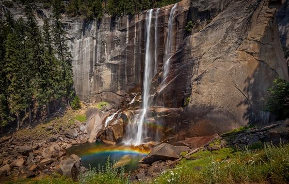 Картинка горы, природа, водопад, радуга, национальный парк