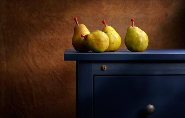 Картинка стол, фон, освещение, груши, the blue dresser