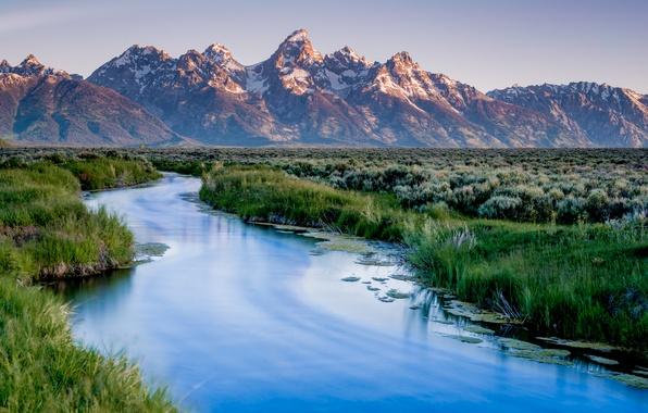 Картинка горы, озеро, USA, США, Wyoming, mountains, lake, Гранд-Титон, штат Вайоминг, Национальный Парк, Grand Teton National …