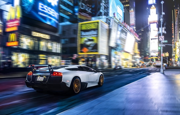 Картинка Lamborghini, Speed, New York, Murcielago, NYC, SuperVeloce, Times Square, LP670-4, Supercar