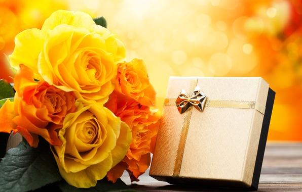 Картинка цветы, праздник, подарок, розы, букет