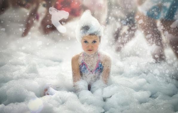 Картинка пена, девочка, ванна