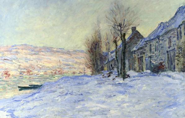 Картинка зима, пейзаж, река, лодка, дома, картина, Клод Моне
